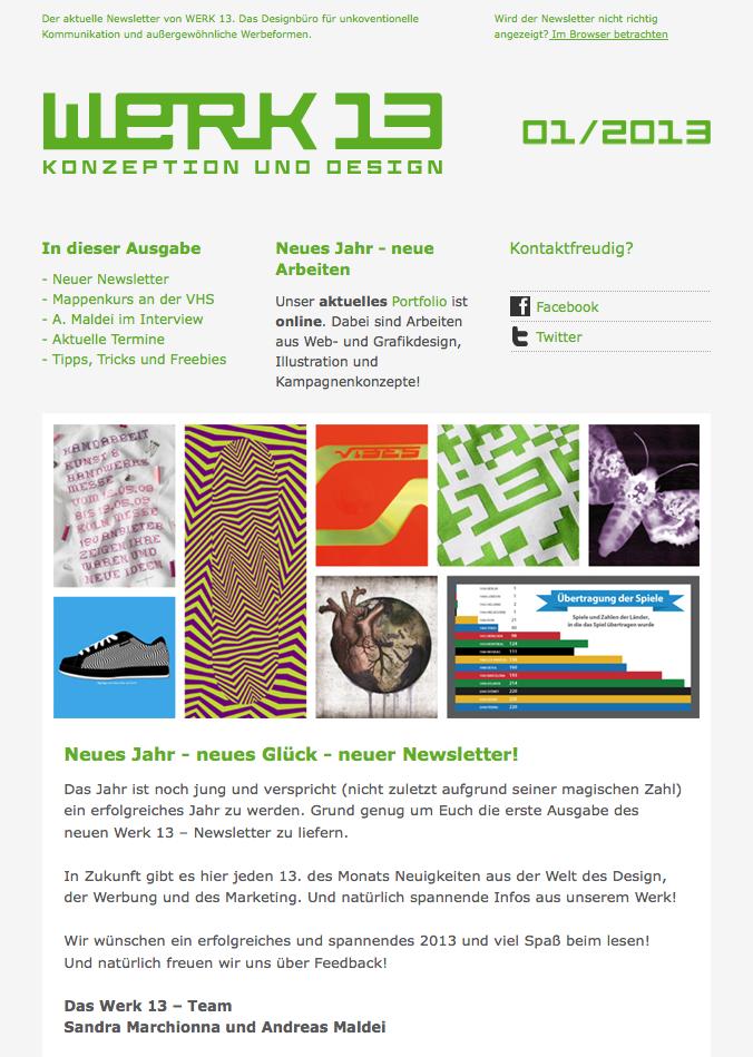 werk 13 designbüro newsletter